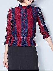 High Neck Vertical Striped Ruffled Hem Blouse