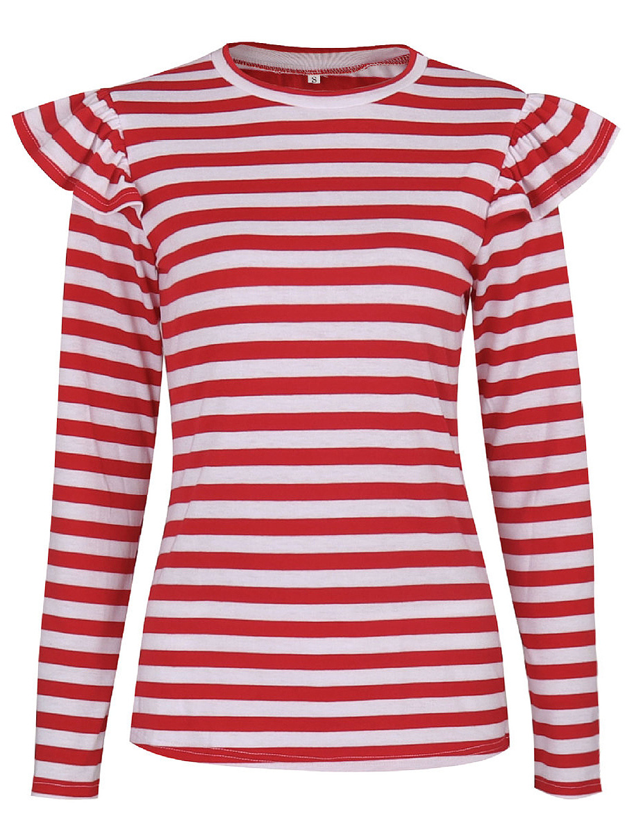 Crew Neck Striped Ruffle Trim Long Sleeve T-Shirt