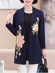 Embroidery Floral  Long Sleeve Trench Coats