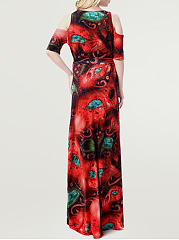 Swing Charming Open Shoulder  Plus Size  Maxi Dress In Abstract Print