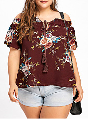 Open Shoulder  Printed  Short Sleeve Plus Size Blouses&T-Shirt