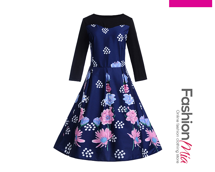 thickness:regular, brand_name:fashionmia, style:elegant*fashion*vintage, material:polyester, collar&neckline:round neck, pattern_type:printed, length:midi, how_to_wash:cold gentle machine wash, supplementary_matters:all dimensions are measured manually with a deviation of 2 to 4cm., occasion:club*date*party*street snap*vacation, dress_silhouette:flared, package_included:dress*1, length:100,bust:88,