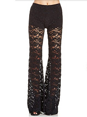 Lace-See-Through-Plain-Flared-Casual-Pants