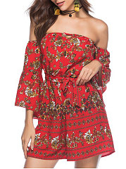 Off Shoulder  Backless  Abstract Print Printed Jumpsuits For Women