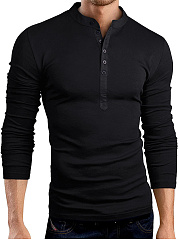 Henley Collar Men T-Shirt