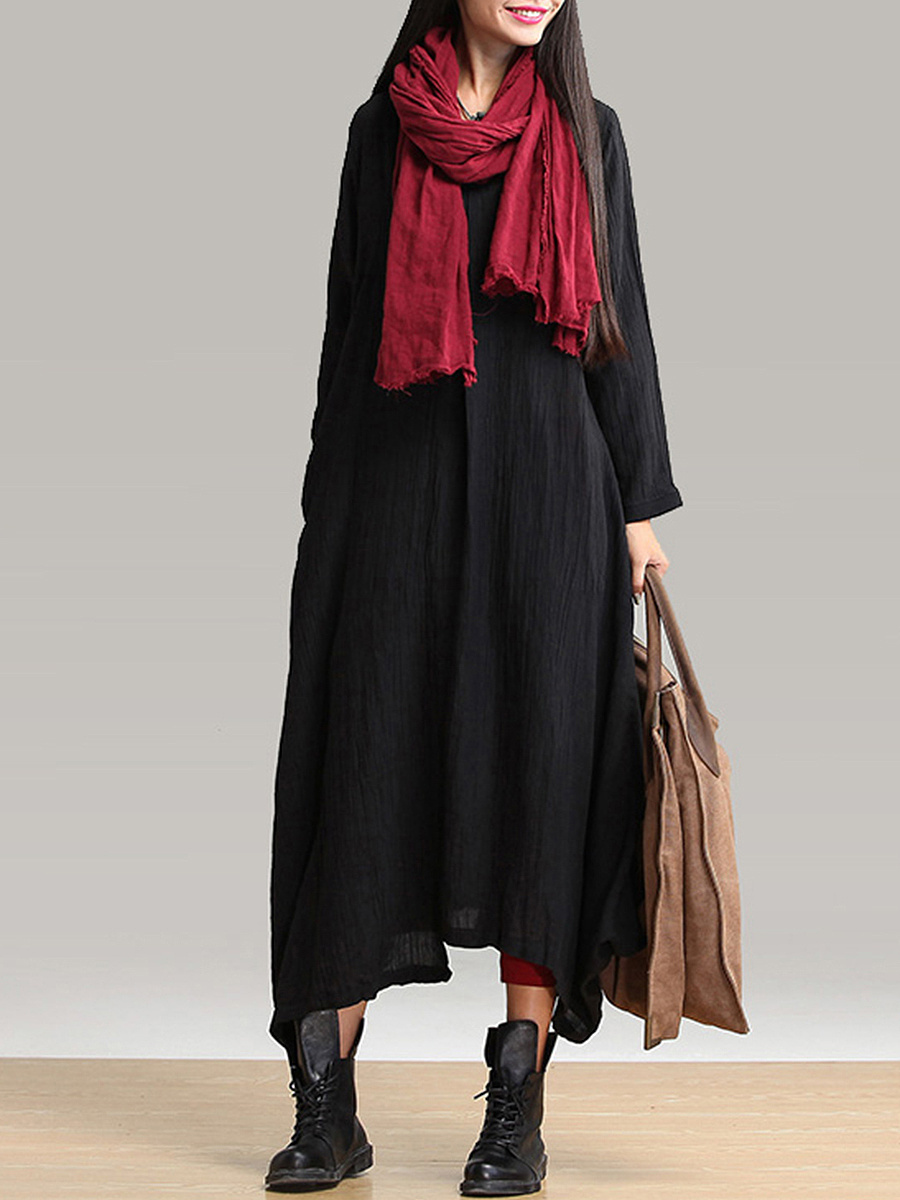 V-Neck Asymmetric Hem Pocket Plain Maxi Dress