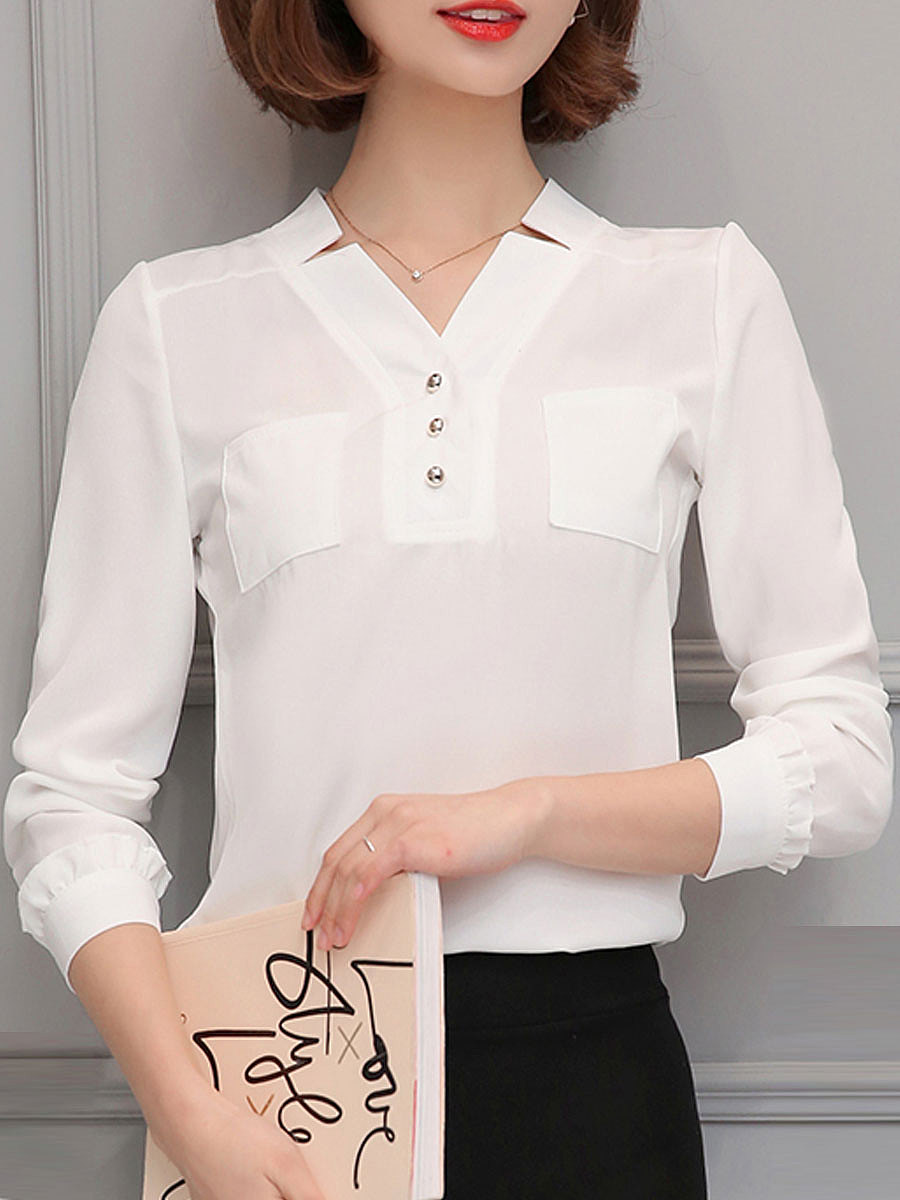 Autumn Spring  Polyester  Women  V-Neck  Patch Pocket  Decorative Button  Plain  Long Sleeve Blouses