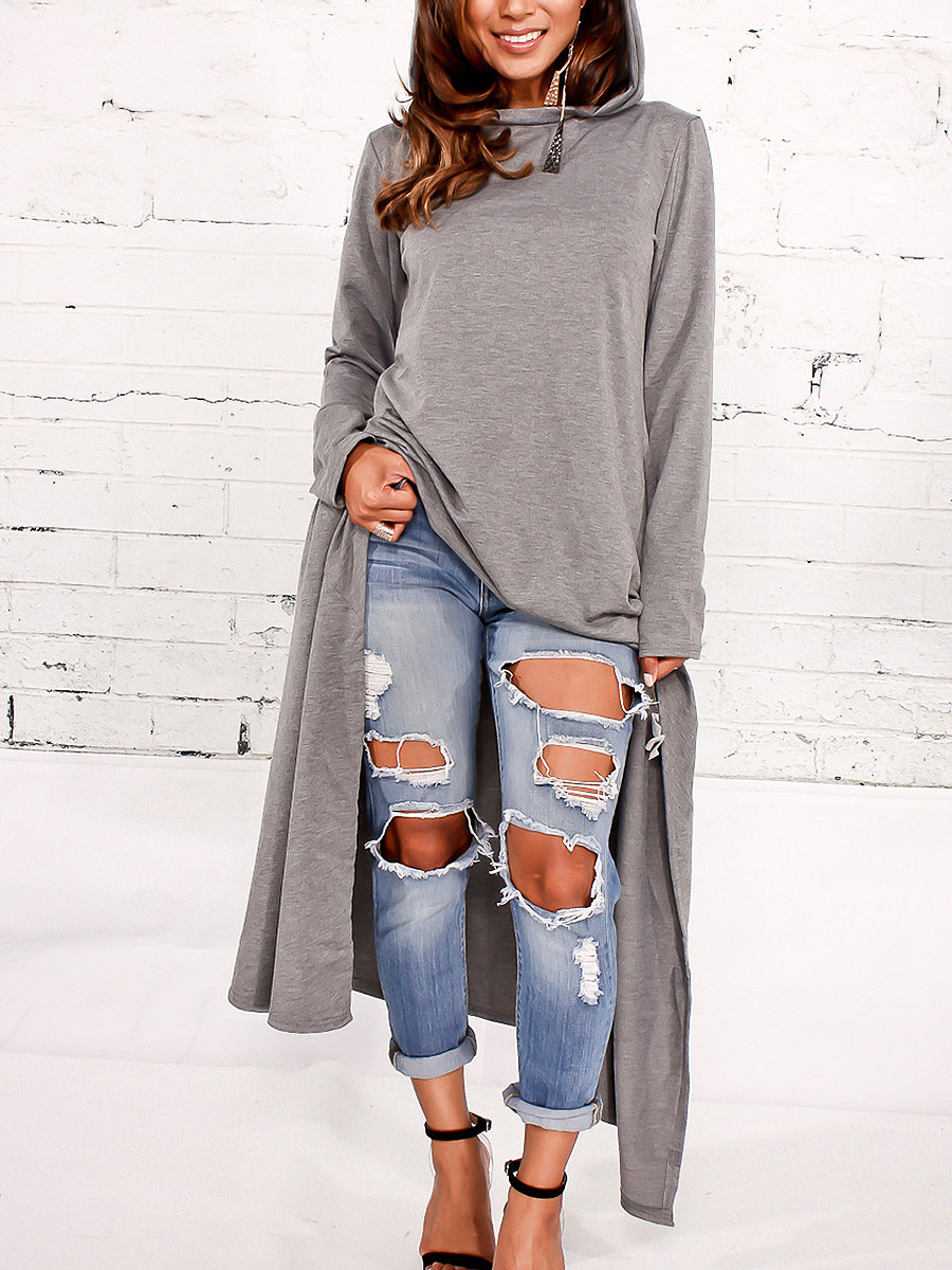 Hooded Plain High-Low Maxi Dress
