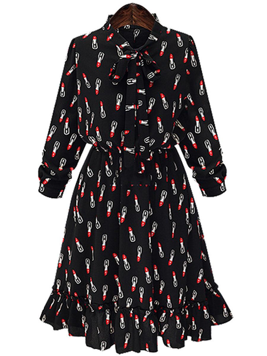 Tie Collar Bowknot Ruffled Hem Lipstick Printed Chiffon Skater Dress
