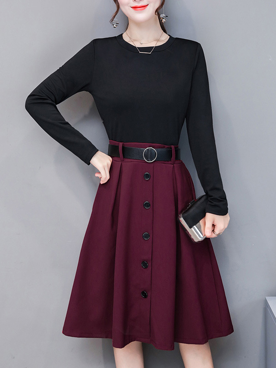 Round Neck Belt Color Block Midi Skater Dress
