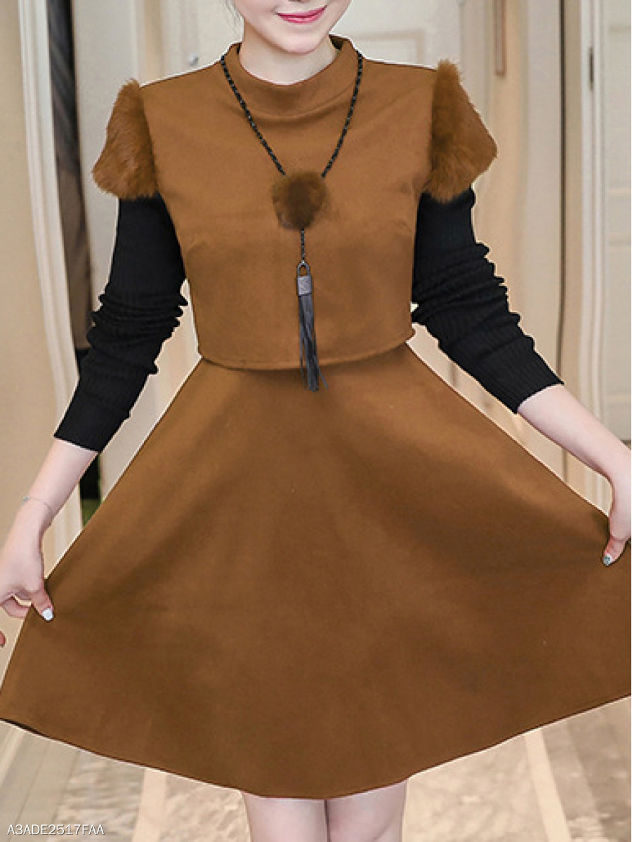 Round Neck  Color Block Colouring Skater Dress