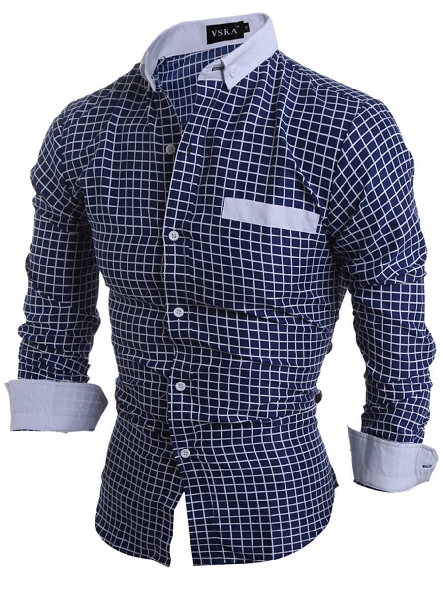 Plaid Button Down Collar Men Shirts