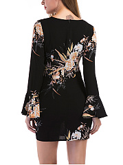 Bell Sleeve Floral Printed Mini Bodycon Dress