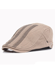 Unisex Cotton Patchwork Stripe Flat Cap