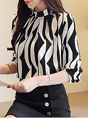 Autumn Spring  Women  Color Block  Long Sleeve Blouses