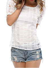 Round Neck  Hollow Out Plain Short Sleeve Blouse