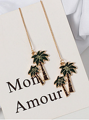 Chain Coconut Tree Shaped Drop Earrings