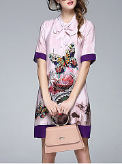 Tie Collar  Color Block Printed Shift Dress