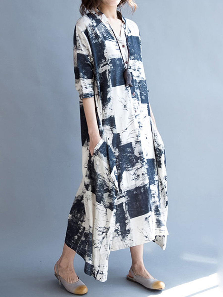 V-Neck Abstract Print Pocket Cotton/Linen Maxi Dress