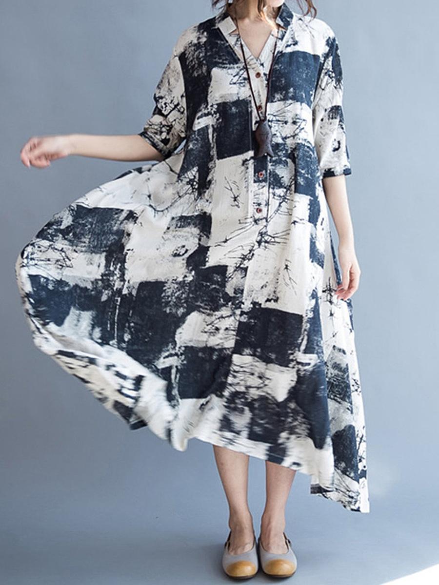V-Neck Abstract Print Pocket Cotton/Linen Maxi Dress