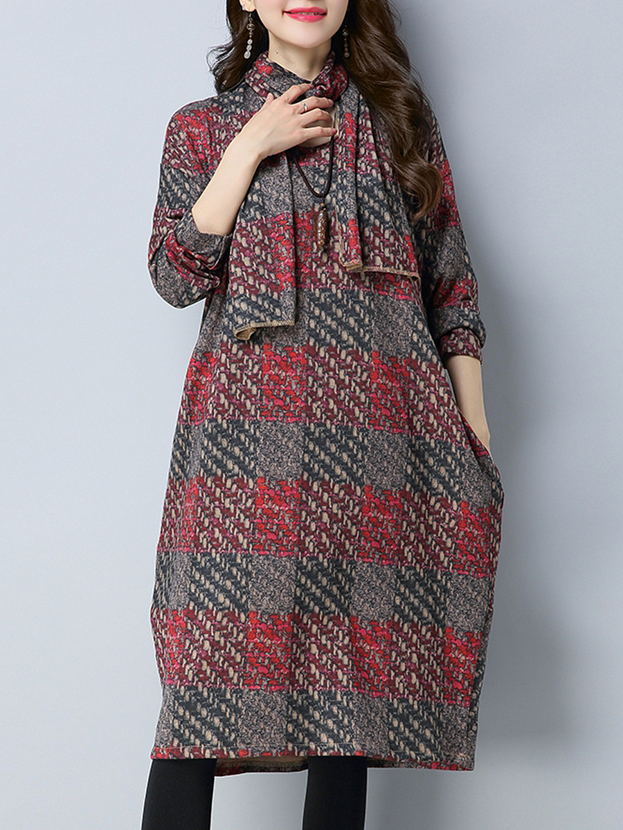 Round Neck Pocket Printed Maxi Dress With Scarf