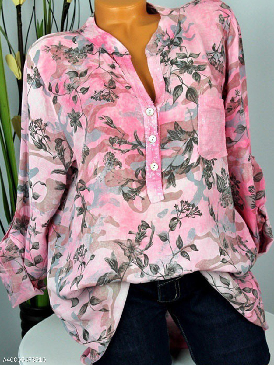 Autumn Spring  Polyester  Women  Decorative Button  Floral Printed  Long Sleeve Blouses