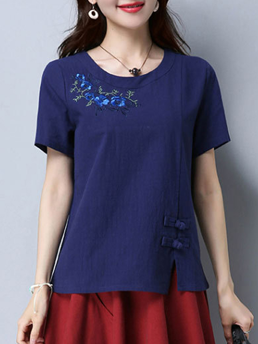 Embroidery Vented Round Neck Short Sleeve T-Shirt