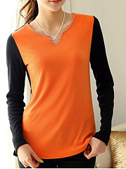 Autumn Spring  Cotton  Women  V-Neck  Beading  Color Block Long Sleeve T-Shirts