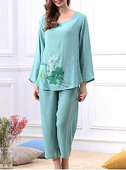 Lotus-Printed-Cotton-Mid-Rise-Comfortable-Pajama-Set