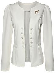 Chic-Solid-Collarless-Decorative-Button-Brooch-Blazer