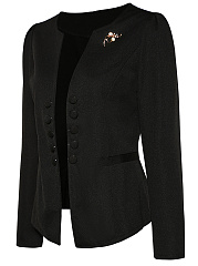 Chic Solid Collarless Decorative Button Brooch Blazer