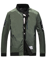 Band Collar Decorative Patch Men Bomber Jacket