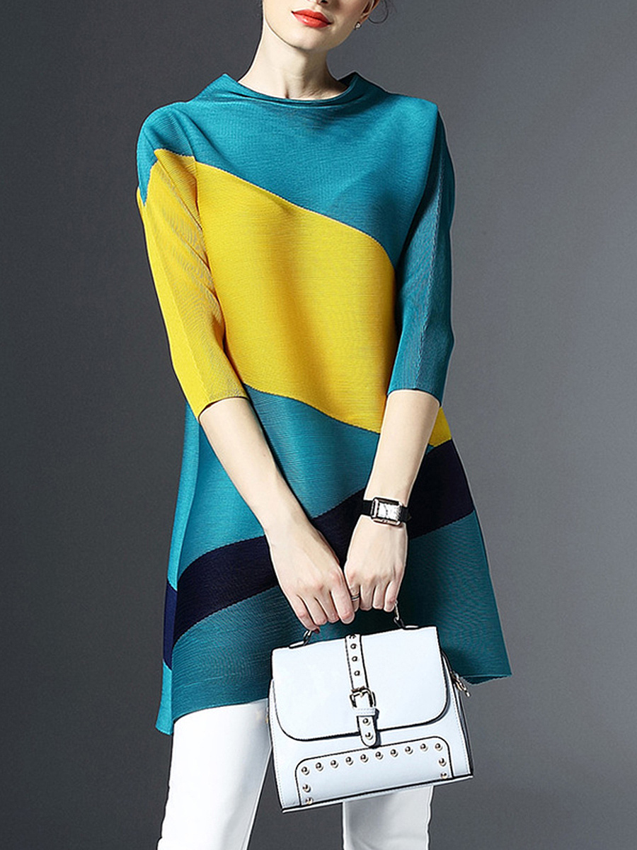 Cowl Neck Color Block Shift Dress