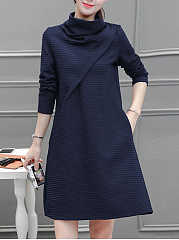 High Neck Pocket Plain Shift Dress