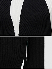 High Neck Color Block Knit Bodycon Dress