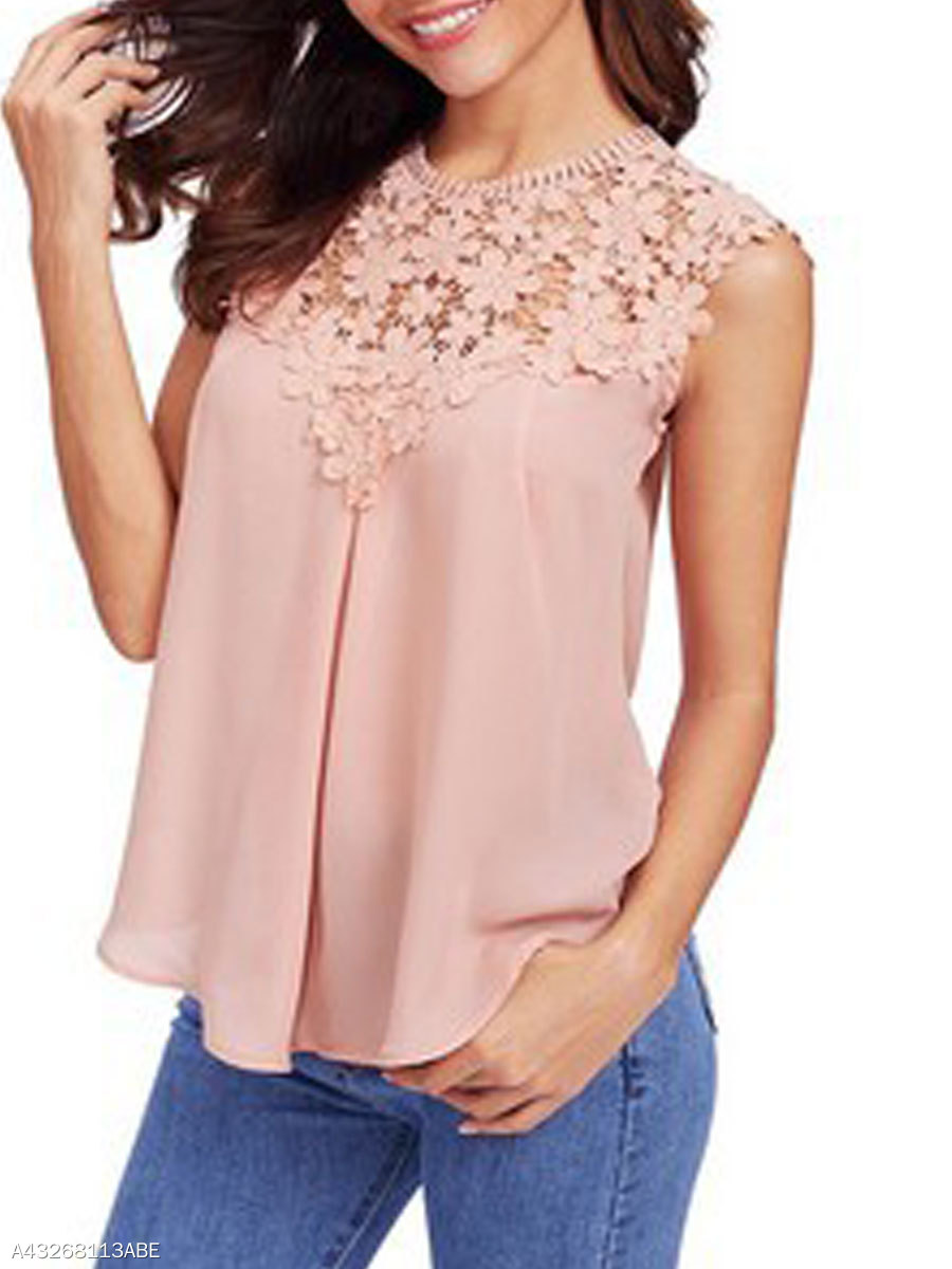 Summer Polyester Women Round Neck Decorative Lace See Through