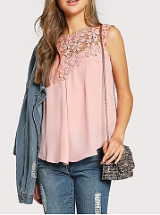 Summer  Polyester  Women  Round Neck  Decorative Lace See-Through Blouses