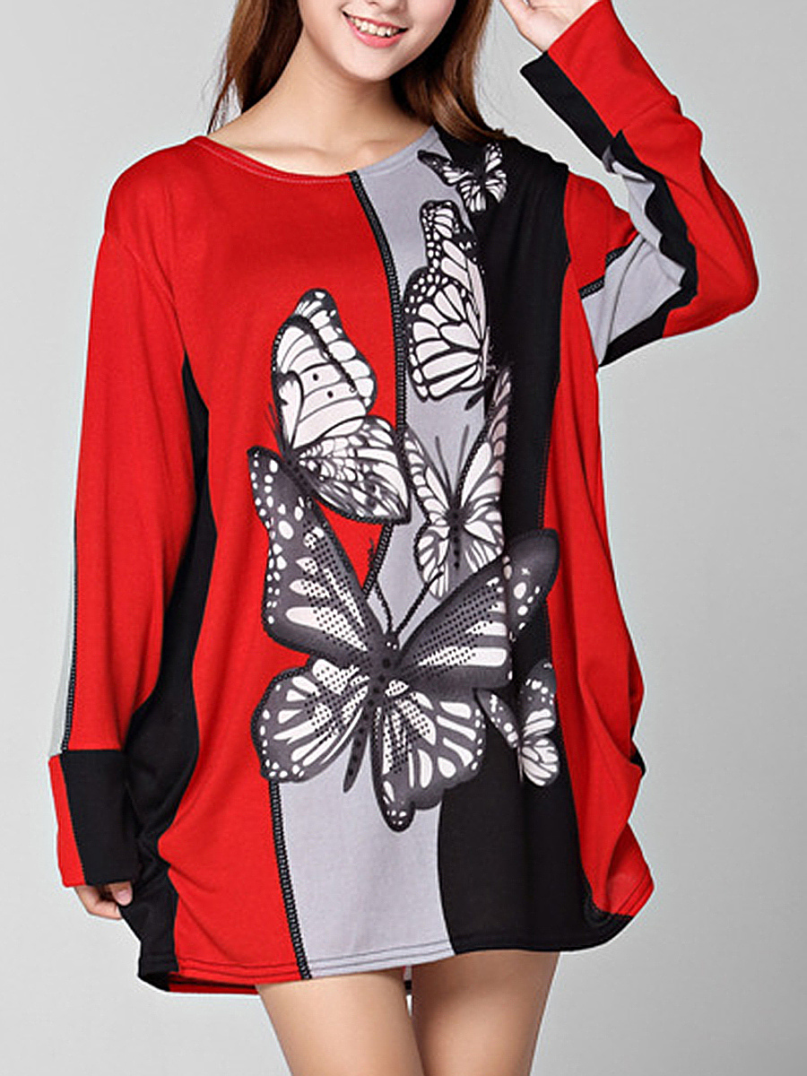 Butterfly Round Neck Color Block Printed Plus Size T-Shirt