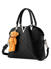 Pu Quilted Lucky Bear Shoulder Bag