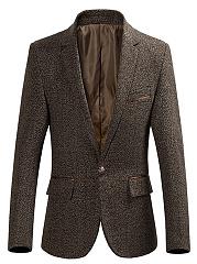 Men-Notch-Lapel-Plain-Flap-Pocket-Single-Button-Blazer