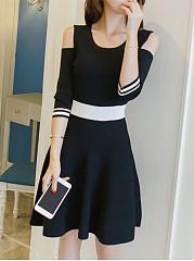 Open Shoulder Striped Half Sleeve Skater Dress