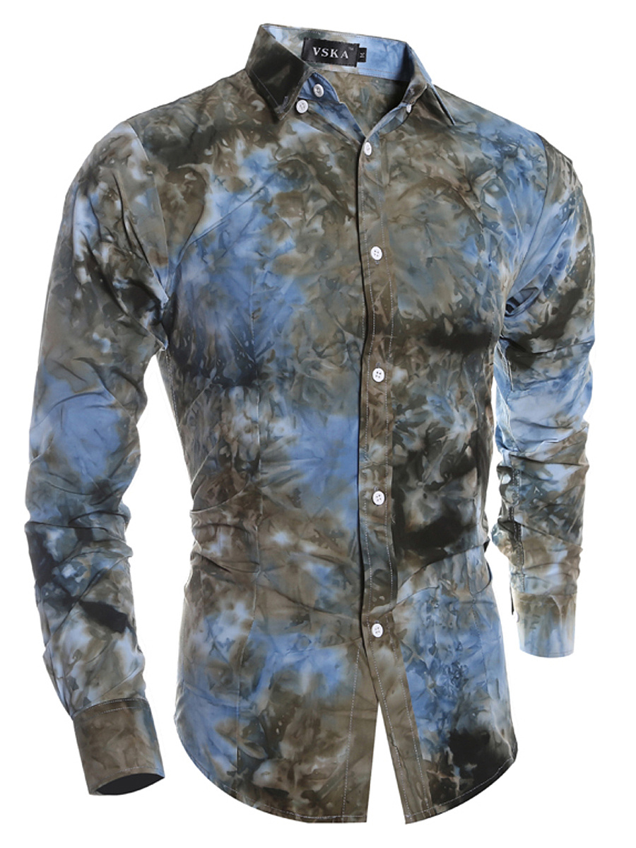 Men Tie/Dye Turn Down Collar Shirts