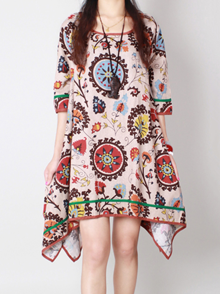 Asymmetric Hem Printed Round Neck Shift Dress