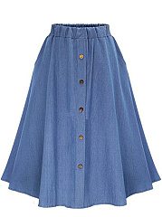 Denim Plain Elastic Waist Pocket Flared Midi Skirt