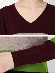 V Neck  Stripes Knit Pullover