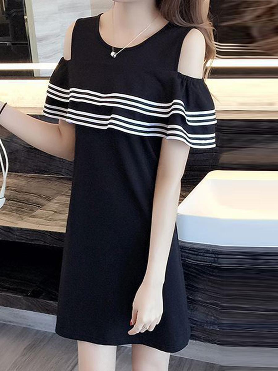 Open Shoulder  Contrast Trim  Plain Shift Dress