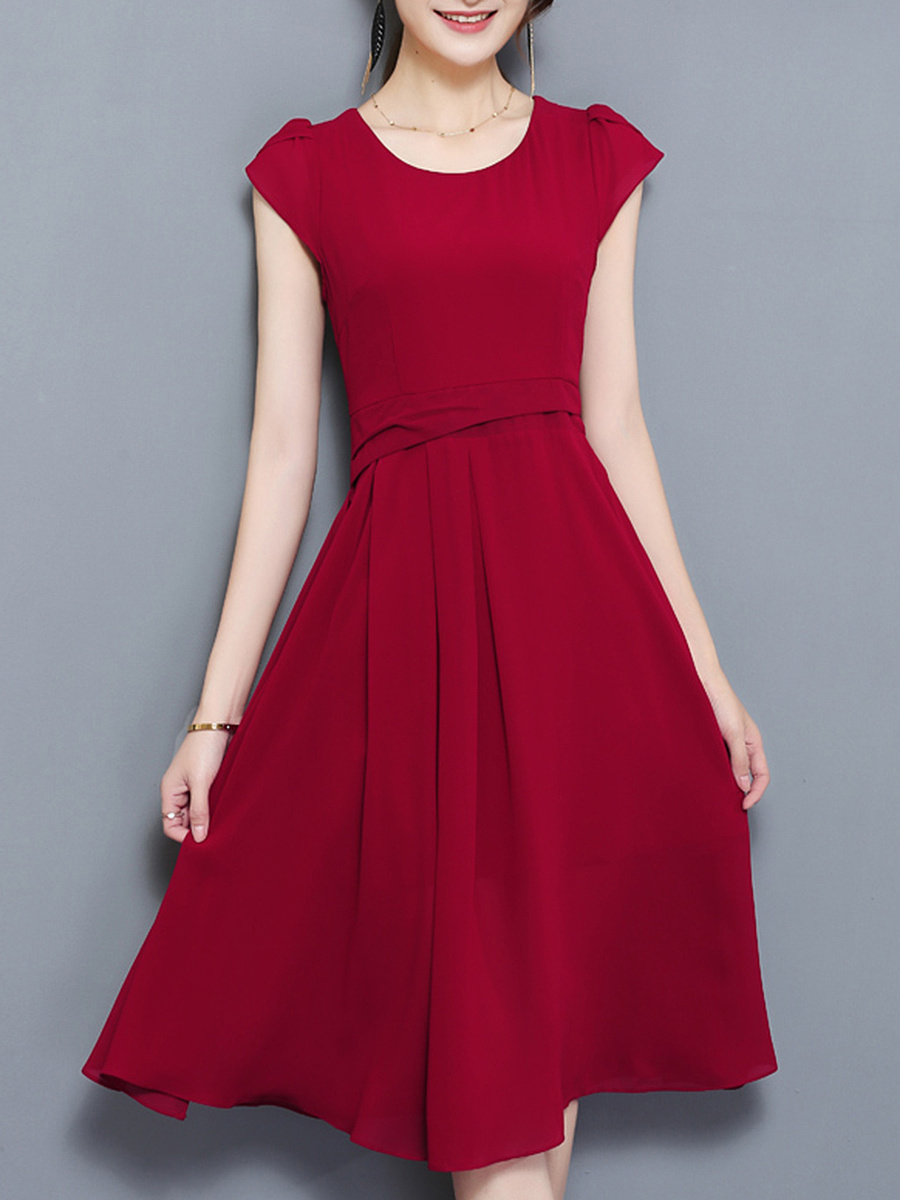 Round Neck Plain Petal Sleeve Chiffon Midi Skater Dress