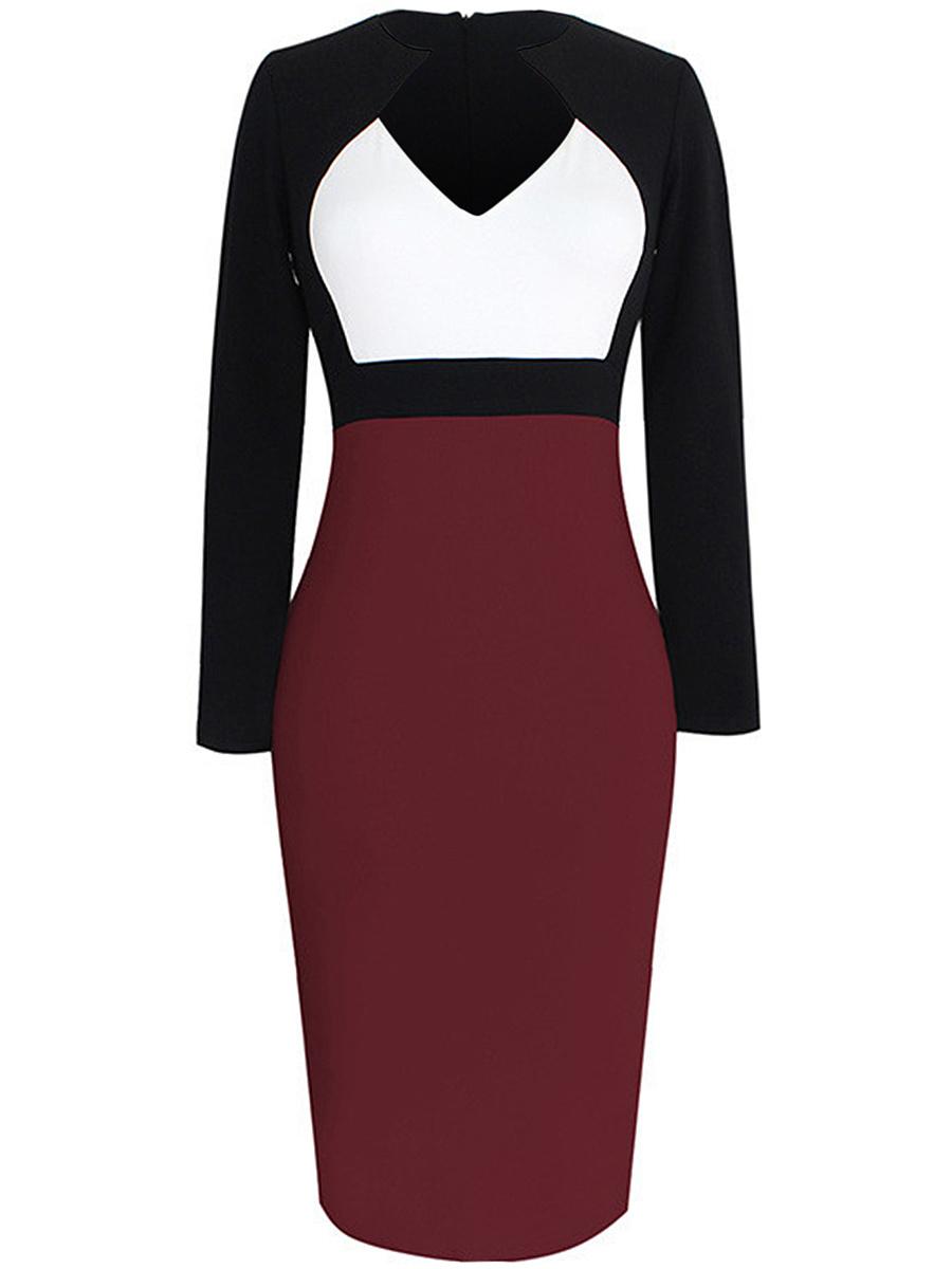 City Hem Neck Dress Round Block Bodycon Asymmetric Color
