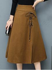 Lace-Up-Slit-Plain-Flared-Midi-Skirt