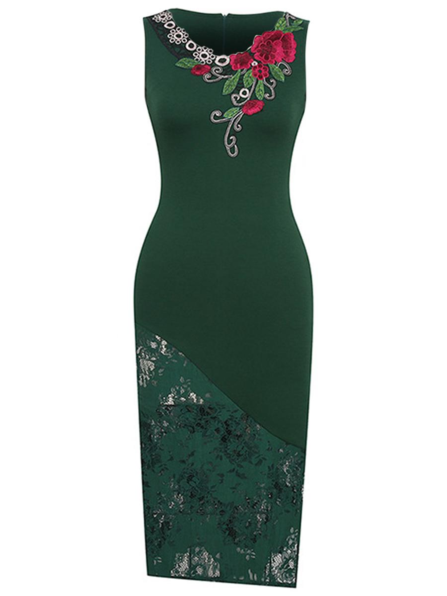 ... Patchwork Hollow Out Applique Midi Bodycon Dress. V-Neck ...